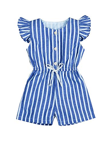 Girls Striped Romper - Toddler Baby Girls Romper Ruffle Sleeve Striped Bodysuit Jumpsuit Shorts Summer Clothes Outfits for Kids(Size90/1-2T)
