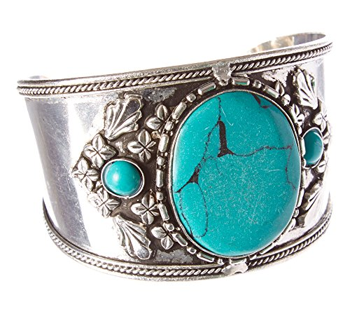 Turquoise Cuff Bracelet ,tribal Vintage bohemian cuff,Nepal Jewelry,Afghani Ethnic Cuff Bracelet