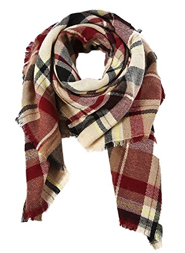 Trendy Women's Cozy Warm Winter Fall Blanket Scarf Stylish Soft Chunky Checked Giant Scarves Shawl Cape (One Size, Coffee Warm ) -