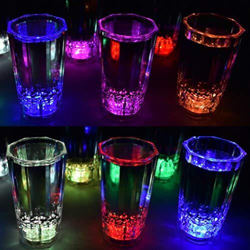 GlowCity LED Light-Up Shot Glasses - Glow-in-the-Dark Liquid Activated Party Glasses - Flash, Scroll and Fade, Multiple Color Set of 12, Batteries Included -