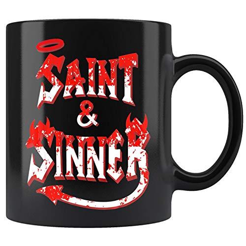 (Halloween Couples Costume Funny Couple Saint & Sinner Mug Coffee Mug 11oz Gift Tea Cups)
