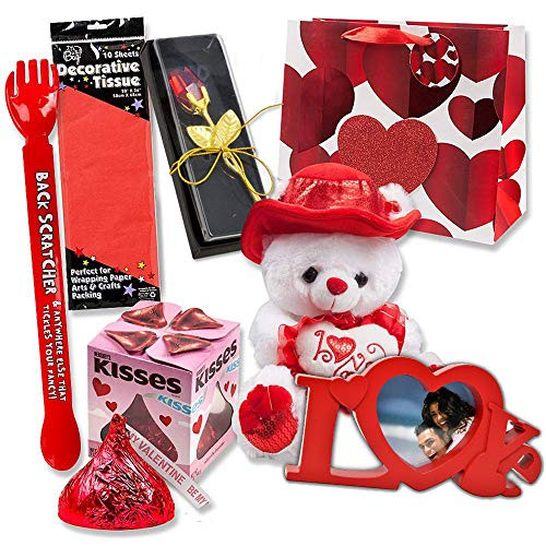 Valentines Gifts 7 Piece Bundle Set Includes Gift Bag, Love Picture Frame, 11