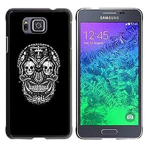 Eason Shop / Hard Slim Snap-On Case Cover Shell - Black Skull Cross Death Metal Rock - For Samsung GALAXY ALPHA G850