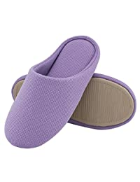 Women's Comfort Knitted Cotton Slippers Washable Flat Closed Toe Ultra Lightweight Indoor Shoes with Non-Slip Sole