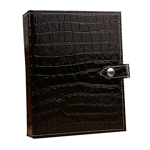 UnionPlus Croco Faux Leather 4-Page Earrings Jewelry Organizer Book(Large, Black)