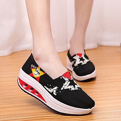 Shoes On Sneakers Slip Platform Canvas Up Walking Multicolor Women 03 EnllerviiD Fintess Black Shape HEwq4TPnx