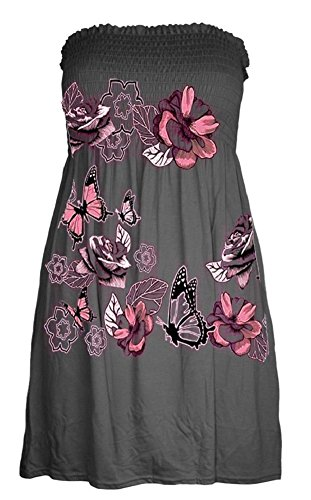 Momo&Ayat Fashions Ladies Butterfly Floral Bandeau Boobtube Sheering Flared Mini Dress Top UK Size 8-24 (2XL (UK 20-22), Charcoal) from Momo&Ayat Fashions