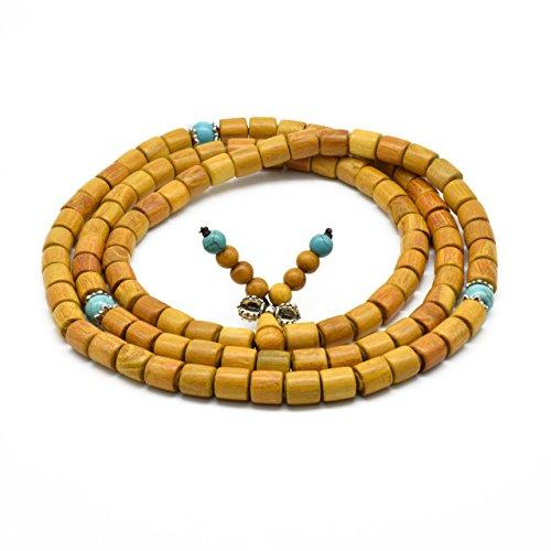 Zen Dear Natural Golden Sandalwood Mexican Bocote Mala Prayer Bracelet Link Wrist Necklace Beads