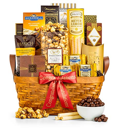 GiftTree As Good As Gold Congratulations Gift Basket | Includes Almond Roca, Caramel Toffee Popcorn, Peanut Brittle…