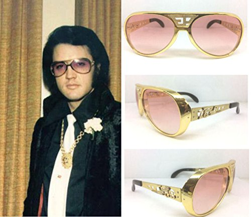 ELVIS SUNGLASSES GOLD PINK ORIGINAL GOLD EP TCB GRAND PRIX - Sunglasses Elvis Tcb