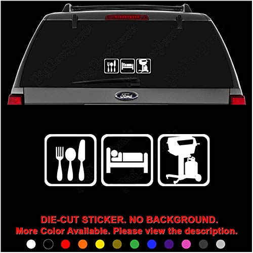 - BBQ Grill Eat Sleep Daily Activities Die Cut Vinyl Decal Sticker for Car Truck Motorcycle Vehicle Window Bumper Wall Decor Laptop Helmet Size- [12 inch] / [30 cm] Wide || Color- Gloss Black