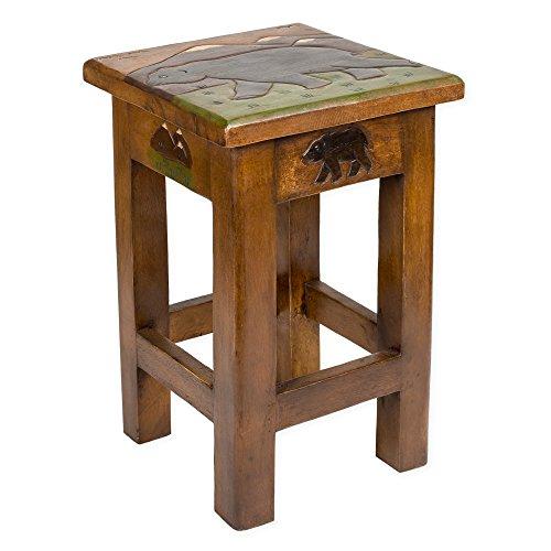 Bear Carved Acacia Hardwood 18 Inch End Table