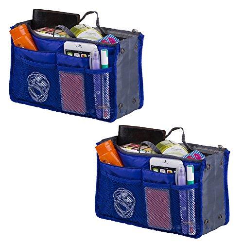 Sapphire Handbag - 2 Pack Generic Travel Insert Handbag Purse Large Liner Organizer Tidy Bags Expandable 13 Pocket Handbag Insert Purse Organizer with Handles (Sapphire)