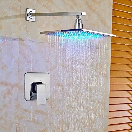 シャワーシステム シャワーセットシャワーシステムシャワーの蛇口ミキサー変更LEDウォールマウントクローム仕上げのシャワーの蛇口タップ16インチ、色名:8インチ レインシャワーシステム (Color : 12inch)