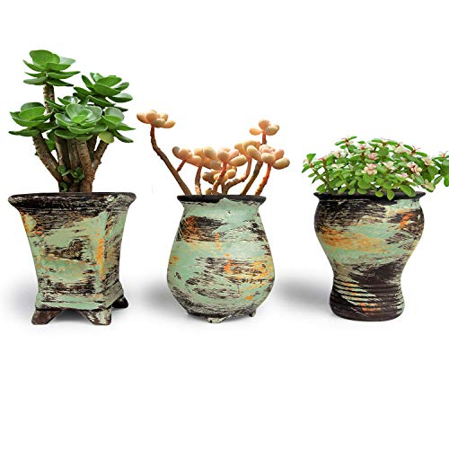T4U New Ceramic Succulent Pot Set of 3, Colorful Oil Painting Style Porcelain Planter Flower Herbs Container for Home office Porch Balcony Living Room Bed Room Decoration Indoor Outdoor Christmas Gift
