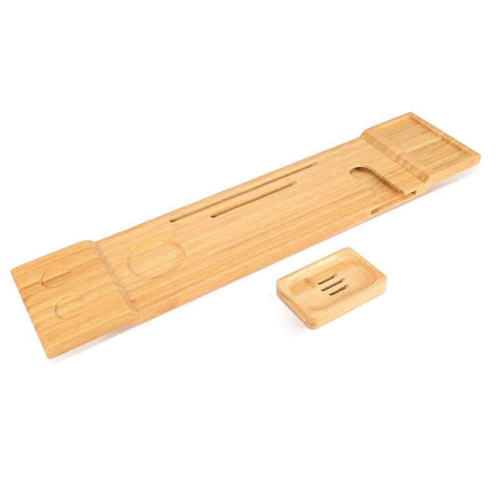 Nordic Multifunctional Bamboo Bathtub Caddy with Tray Bathtub Frame Shelf Bathtub Board Ipad Mobile Phone Holder Bath Artifact Bathroom Rack (Non-Retractable)