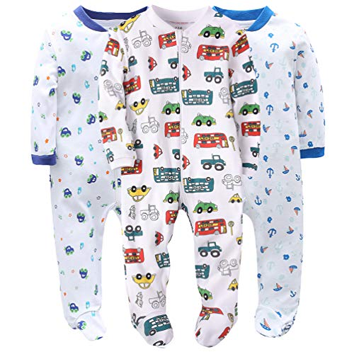 Cars&Boats Baby Boys' Footed Pajama - 100% Cotton Zip Front Sleep and Play Sleeper 12M