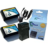 2x Pack - Olympus BLS-5 Battery + Charger with Car & EU Adapters - Replacement for Olympus BLS-5 Digital Camera Battery and Charger (1150mAh, 7.4V, Lithium-Ion)