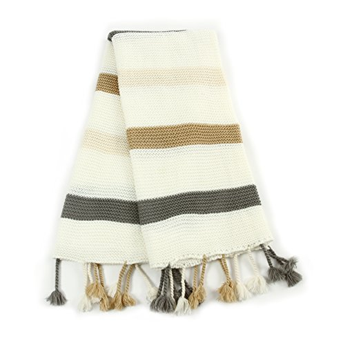 EverGrace Knitted Throw Blanket 100% Acrylic Decorative Striped Bedding Blanket with Handmade Tassels for Sofa or Couch Home Décor W50 x L60 (Yellow) ()