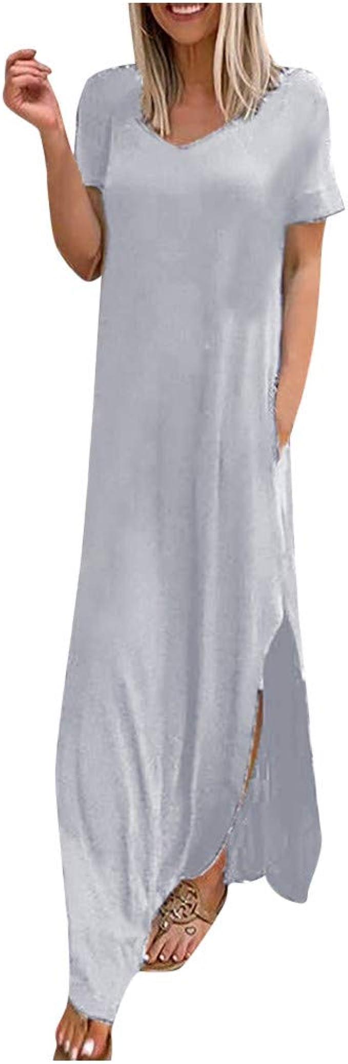 Xisimei Kleider Damen, Maxikleid Tshirt Kleid Abendkleider Elegant