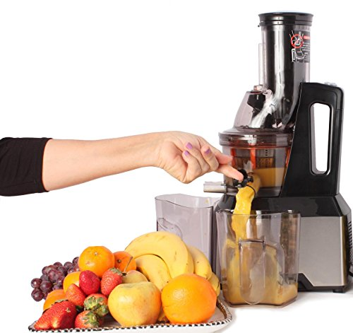 Oliver Smith Slow Masticating Juicer Extractor (Quiet 300W AC Motor, 65 RPMs, 3' Wide Mouth) - Stainless Steel - Whole Fruit Vegetable Anti-Oxidation- Sorbet & Smoothie Attachments Included