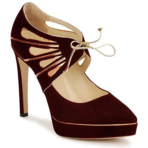 Platform Modell Golden Wildleder und Leder Design von HGilliane in 33 bis 44 Bordeaux