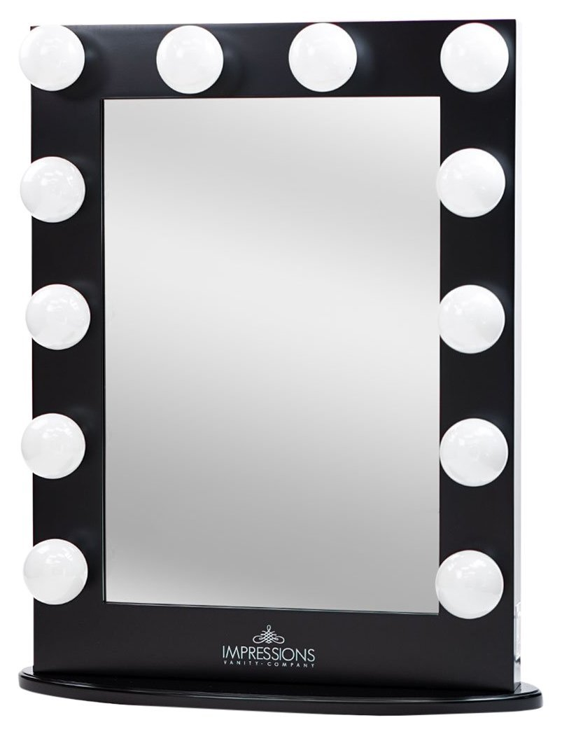 Impressions Vanity Hollywood Iconic XL Vanity Mirror with Dimmer Frosted Bulbs, Black
