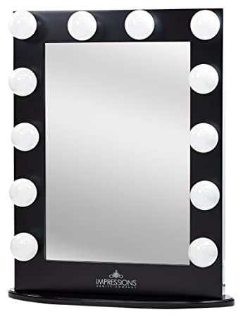 Impressions Vanity Hollywood Iconic Xl Vanity Mirror with Dimmer   Frosted  Bulbs  Black. Amazon com  Impressions Vanity Hollywood Iconic Xl Vanity Mirror