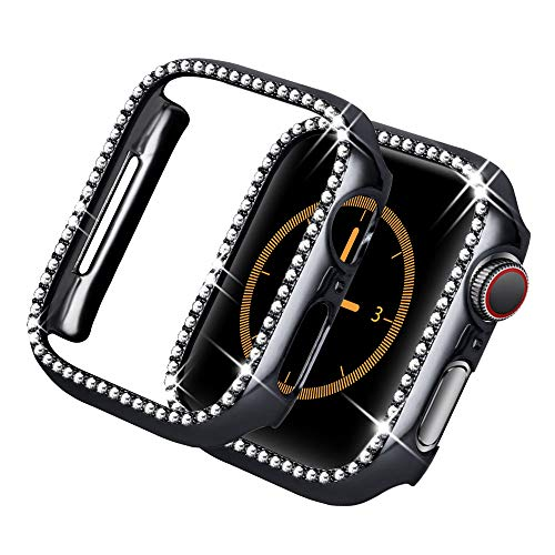 Yolovie for Apple Watch Case 38mm, iWatch Cover with Bling Crystal Diamonds Shiny Rhinestone Bumper, Electroplated PC Hard Protective Frame for Apple Watch Series 3/2/1 Women (Black-Diamond, 38mm)