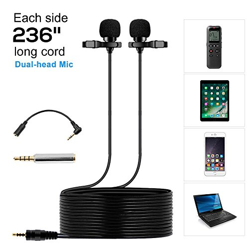 Dual Lavalier Microphone 236'' (6m) Lapel Microphone,Professional Lapel Clip-on Omnidirectional Condenser Mic for Apple iPhone,Android,PC,Recording Youtube, Interview,Video Conference, broadcast by EASJOY