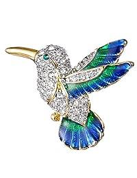 Ever Faith Gold-Tone Austrian Crystal Enamel Flying Little Hummingbird Brooch Pin Clear N07785-1