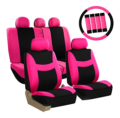 FH Group FB030PINK-COMBO Seat Cover Combo Set with Steering Wheel Cover and Seat Belt Pad (Airbag Compatible and Split Bench - Pink 2002