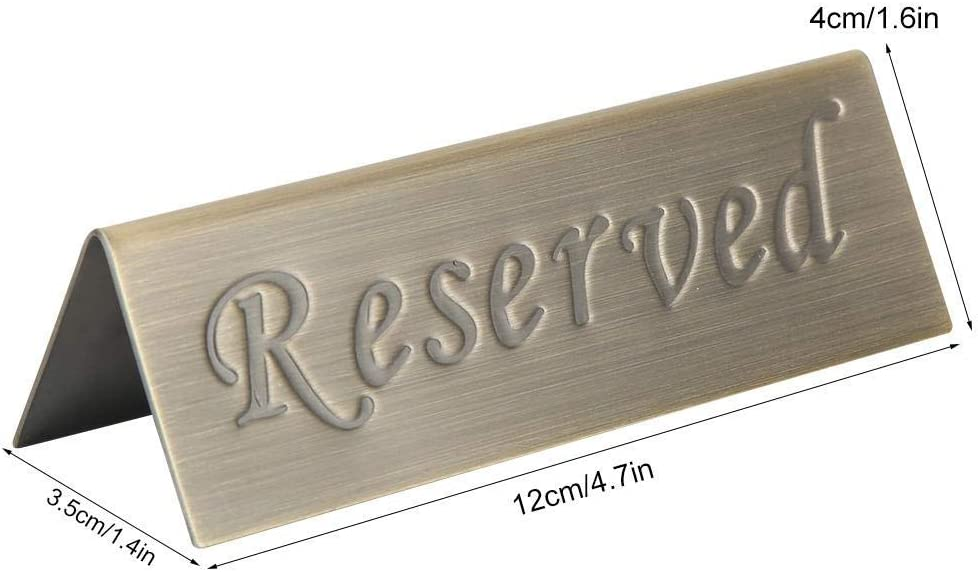 Free Standing Restaurant Bars Tabletop 1 x Reserved Table Sign Stainless Steel