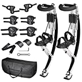 AMPERSAND SHOPS Skid-Proof Adult Size Jumping Bouncing Kangaroo Stilts Shoes Exercise Sports Gear with Protective Wrist Elbow and Knee Pads Plus Carrying Case