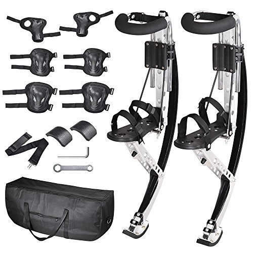 AMPERSAND SHOPS Skid-Proof Adult Size Jumping Bouncing Kangaroo Stilts Shoes Exercise Sports Gear with Protective Wrist Elbow and Knee Pads Plus Carrying Case by AMPERSAND SHOPS