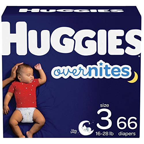 Nighttime Baby Diapers Size 3, 66 Ct, Huggies 3 (66 Count), Multi-color
