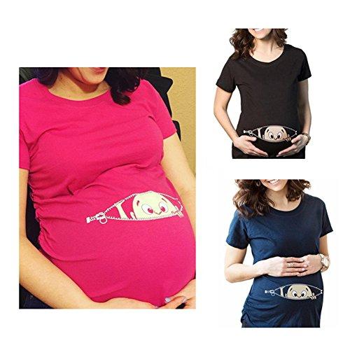 Q.KIM Camiseta de maternidad Elasticidad Suave Embarazada Camiseta Premamá T-shirt bebé divertido estampado - para mujer I'm coming ,Hot Rose