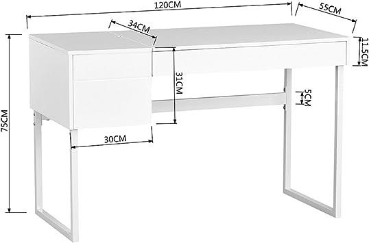 FITATHOME Escritorio Moderno 2 cajones 1 almacenaje con Tapa Panel ...