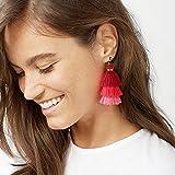 Wcysin Long Tassel Drop Earrings and Clip on Earrings Pierced for Women Layer Tassel Earrings (Hot pink)