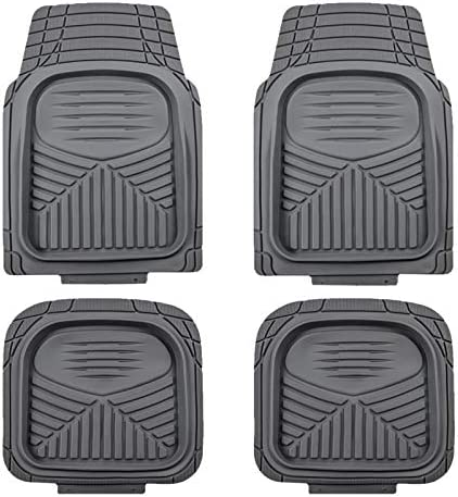 August Auto All Weather Universal Fit Set of 4pcs Deep Tray Rubber Car Floor Mats Fit for Sedan, SUVs, Truck and Vans