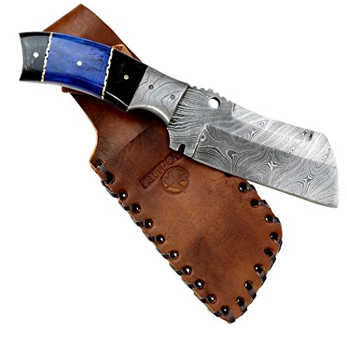 Hunt-Down-9-Damascus-Blade-Hunting-Knife-Horn-Handle-with-Leather-Sheath