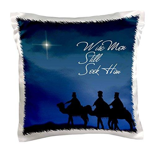 3dRose pc_30754_1 Wise Men Still Seek Him Magi Following The Christmas Star-Pillow Case, 16 by 16