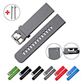 Quick Release Watch Bands - Choice of Colors & Widths (18mm, 20mm or 22mm) - Soft Silicone Rubber - 2 Extra Watch Pins (Smokey Grey, 22mm)