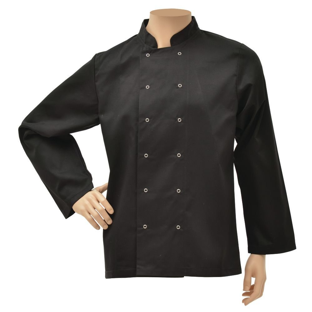 HUBERT Black Poly Cotton Long Sleeve Chef Coat - Medium
