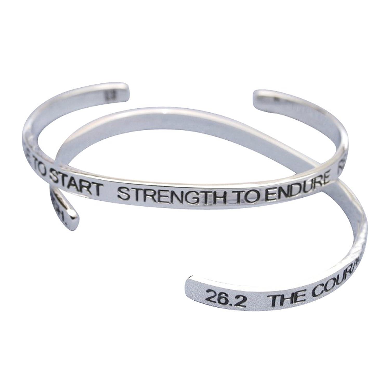 """.925 Sterling Silver 26.2 Marathon """"Courage to Start"""" Cuff Bracelet"""