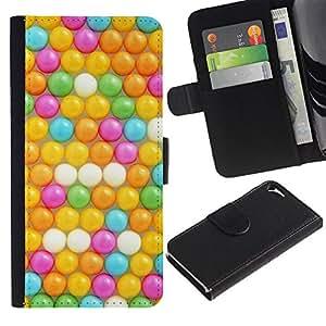 Billetera de Cuero Caso Titular de la tarjeta Carcasa Funda para Apple Iphone 5 / 5S / Kids Yellow Teal Pink Round / STRONG