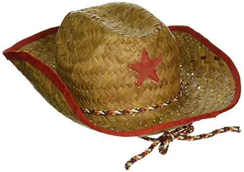 Childs Straw Cowboy Hat With Plastic Star (6 Pack) - BULK]()