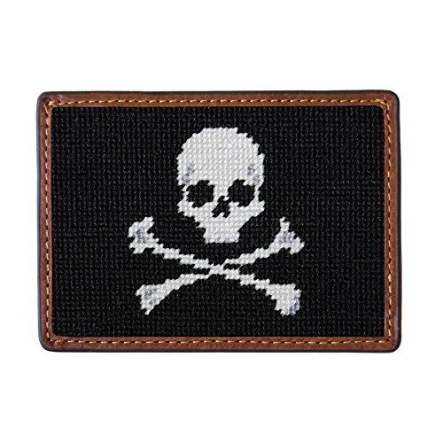 Smathers & Branson Men's Needlepoint Card Wallet Jolly Roger/Black
