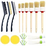 Car Cleaner Brush Set,13 Pcs Vidillo Auto Detailing Brush Set Including 6 Natural Boar Hair Detail Brush+ 3 Wire Brushes+ 2 Automotive Air Conditioner+ 2 Car Wax Sponge Pads, for Cleaning Weels, Interior, Exterior, Leather