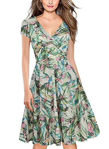 oxiuly Women's V-Neck Cap Sleeve Floral Casual Work Cocktail Swing Dress OX233 (XL, Light Green)